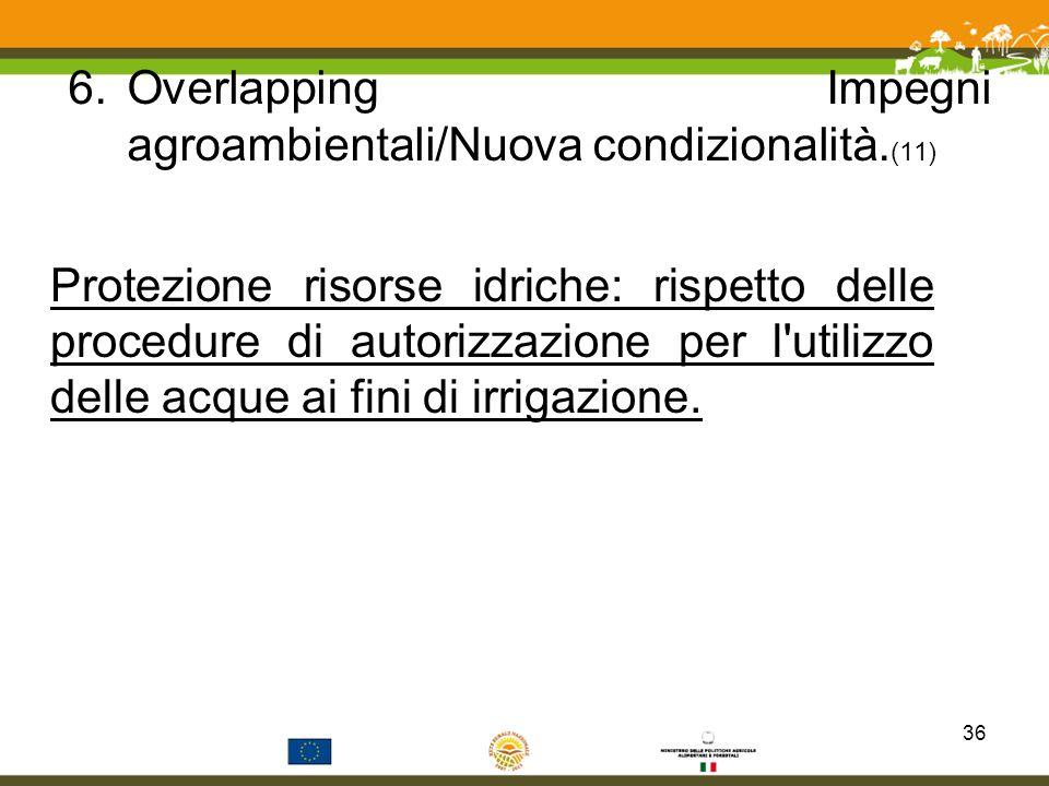 6.Overlapping Impegni agroambientali/Nuova condizionalità. (11) Protezione risorse idriche: rispetto delle procedure di autorizzazione per l'utilizzo