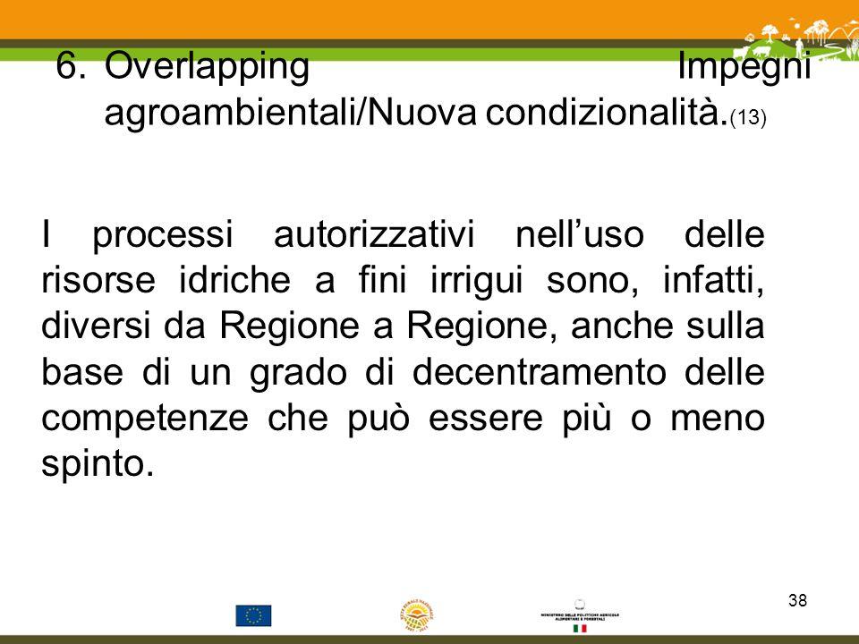 6.Overlapping Impegni agroambientali/Nuova condizionalità. (13) I processi autorizzativi nelluso delle risorse idriche a fini irrigui sono, infatti, d