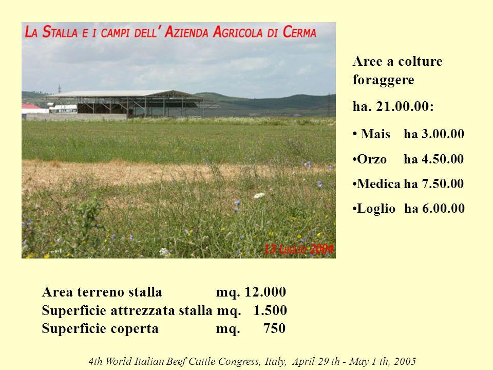 Area terreno stalla mq. 12.000 Superficie attrezzata stalla mq.