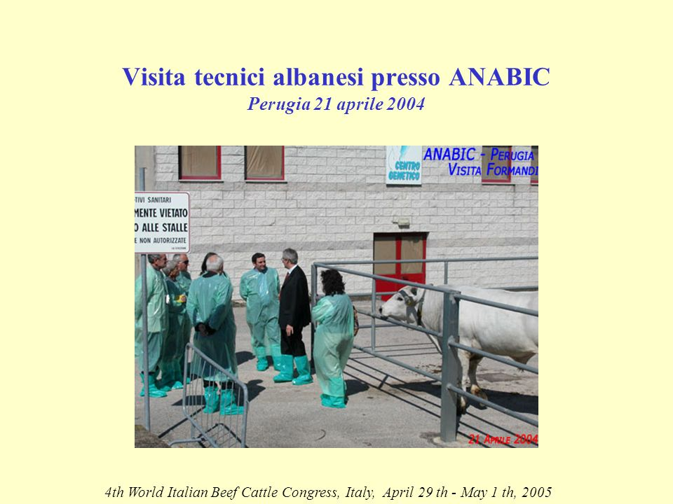 Visita tecnici albanesi presso ANABIC Perugia 21 aprile th World Italian Beef Cattle Congress, Italy, April 29 th - May 1 th, 2005