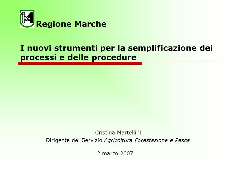 I nuovi strumenti per la semplificazione dei processi e delle procedure Cristina Martellini Dirigente del Servizio Agricoltura Forestazione e Pesca Regione Marche 2 marzo 2007