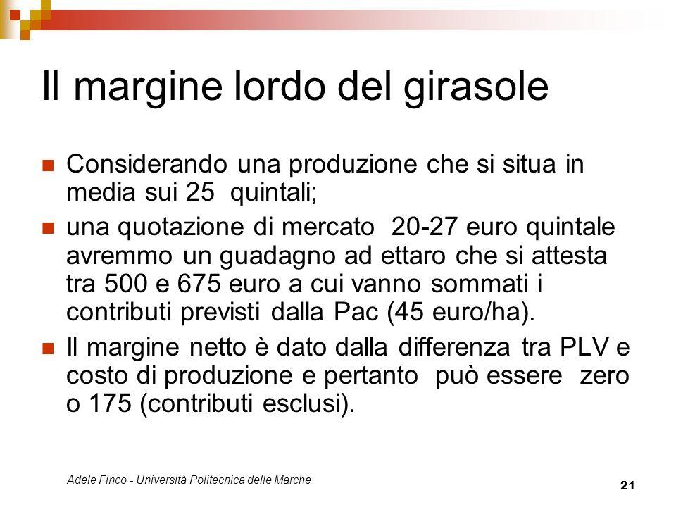Adele Finco - Università Politecnica delle Marche 21 Il margine lordo del girasole Considerando una produzione che si situa in media sui 25 quintali;