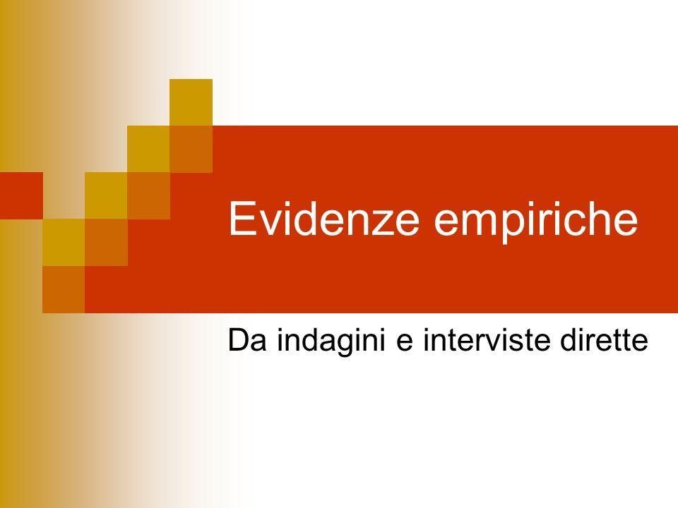 Evidenze empiriche Da indagini e interviste dirette