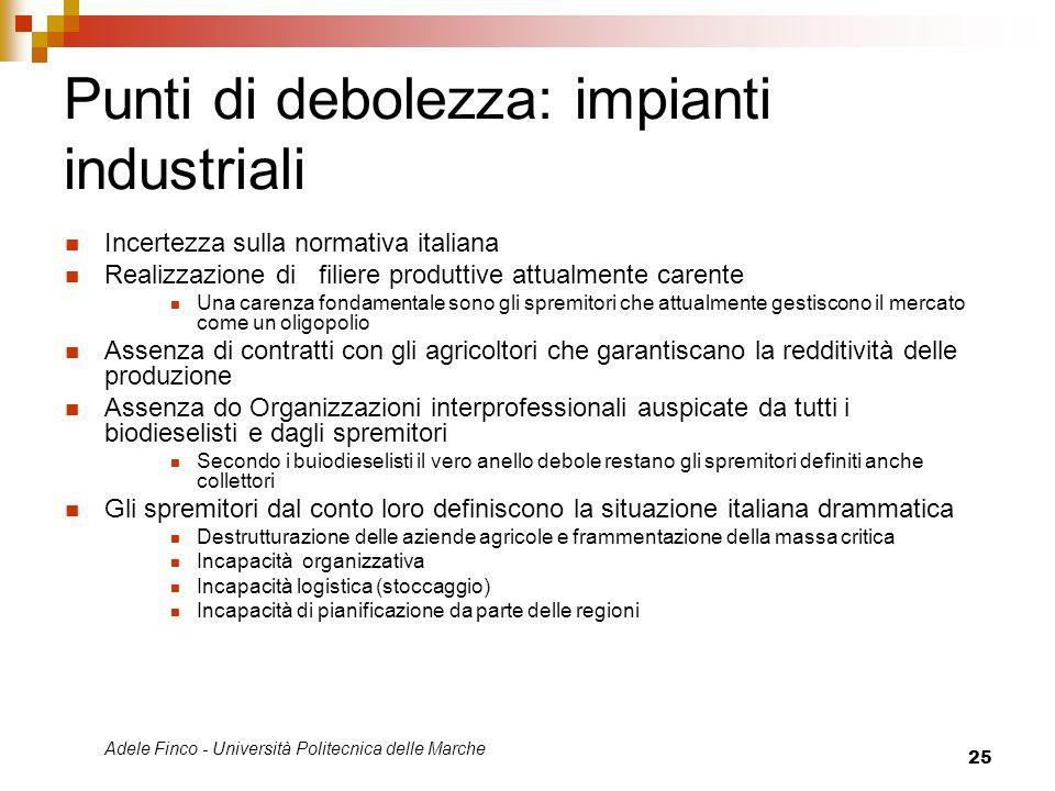 Adele Finco - Università Politecnica delle Marche 25 Punti di debolezza: impianti industriali Incertezza sulla normativa italiana Realizzazione di fil