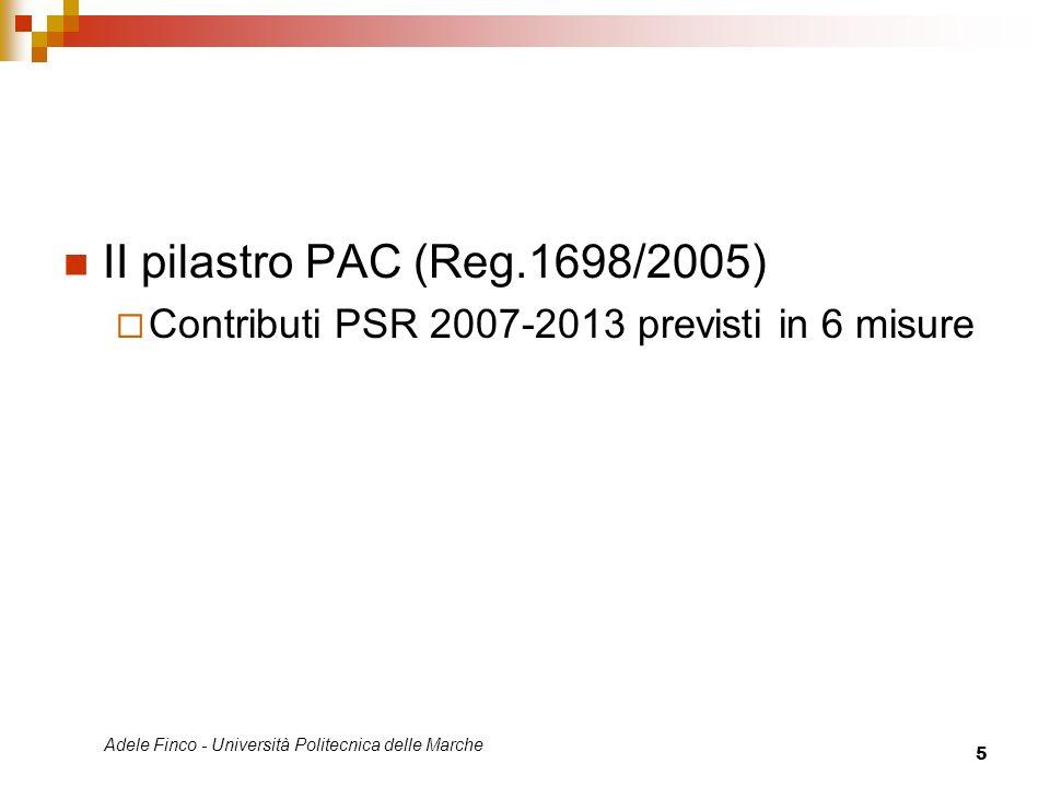 Adele Finco - Università Politecnica delle Marche 5 II pilastro PAC (Reg.1698/2005) Contributi PSR 2007-2013 previsti in 6 misure