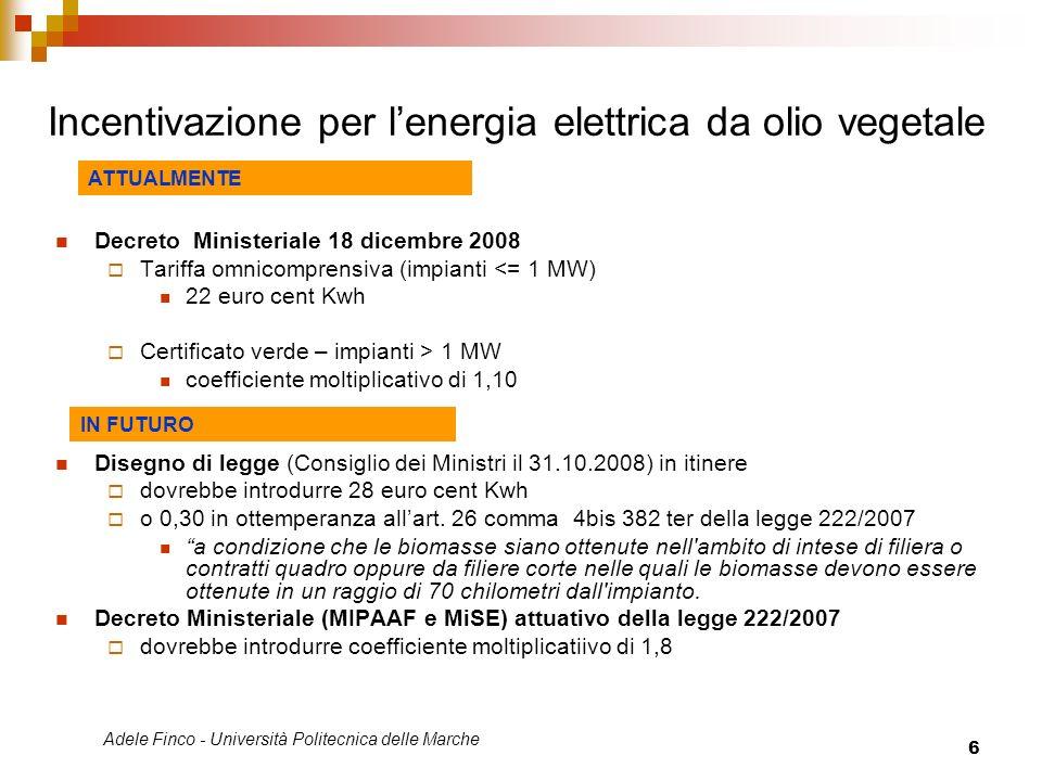 Adele Finco - Università Politecnica delle Marche 6 Incentivazione per lenergia elettrica da olio vegetale Decreto Ministeriale 18 dicembre 2008 Tarif
