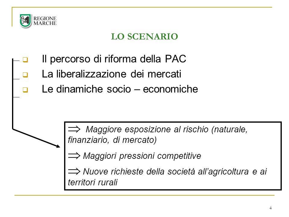 4 LO SCENARIO Il percorso di riforma della PAC La liberalizzazione dei mercati Le dinamiche socio – economiche Maggiore esposizione al rischio (naturale, finanziario, di mercato) Maggiori pressioni competitive Nuove richieste della società allagricoltura e ai territori rurali