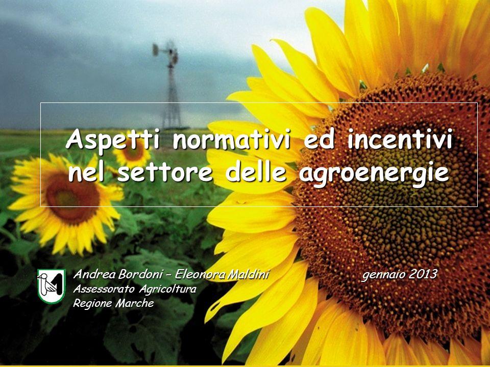 Aspetti normativi ed incentivi nel settore delle agroenergie Andrea Bordoni – Eleonora Maldini Assessorato Agricoltura Regione Marche gennaio 2013