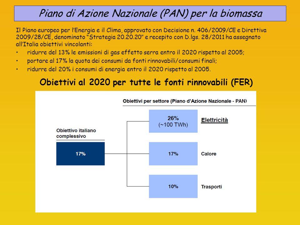 Obiettivi al 2020 per tutte le fonti rinnovabili (FER) Piano di Azione Nazionale (PAN) per la biomassa Il Piano europeo per lEnergia e il Clima, approvato con Decisione n.