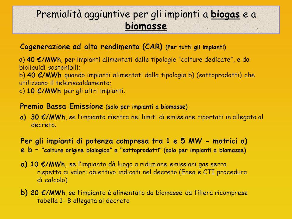 a) 40 /MWh, per impianti alimentati dalle tipologie colture dedicate, e da bioliquidi sostenibili; b) 40 /MWh quando impianti alimentati dalla tipologia b) (sottoprodotti) che utilizzano il teleriscaldamento; c) 10 /MWh per gli altri impianti.