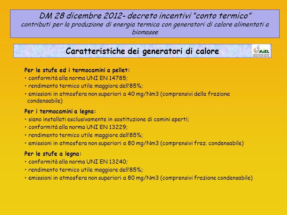 Caratteristiche dei generatori di calore Per le stufe ed i termocamini a pellet: conformità alla norma UNI EN 14785; rendimento termico utile maggiore dell85%; emissioni in atmosfera non superiori a 40 mg/Nm3 (comprensivi della frazione condensabile) Per i termocamini a legna: siano installati esclusivamente in sostituzione di camini aperti; conformità alla norma UNI EN 13229; rendimento termico utile maggiore dell85%; emissioni in atmosfera non superiori a 80 mg/Nm3 (comprensivi fraz.