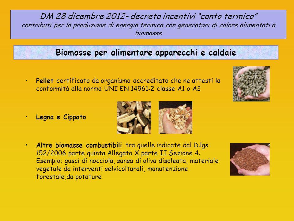 Pellet certificato da organismo accreditato che ne attesti la conformità alla norma UNI EN 14961 2 classe A1 o A2 Legna e Cippato Altre biomasse combustibili tra quelle indicate dal D.lgs 152/2006 parte quinta Allegato X parte II Sezione 4.