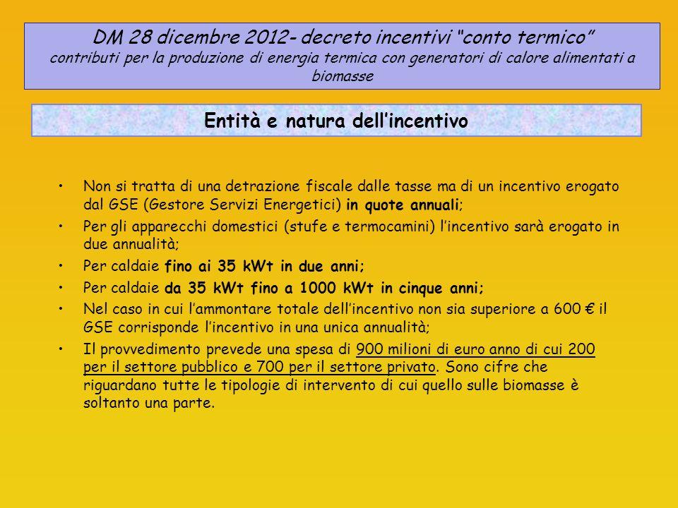 CALCOLO DELLINCENTIVO - Apparecchi domestici - DM 28 dicembre 2012- decreto incentivi conto termico contributi per la produzione di energia termica con generatori di calore alimentati a biomasse Regione Marche