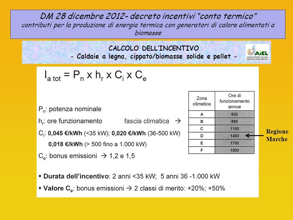 CALCOLO DELLINCENTIVO - Caldaie a legna, cippato/biomasse solide e pellet - DM 28 dicembre 2012- decreto incentivi conto termico contributi per la produzione di energia termica con generatori di calore alimentati a biomasse Regione Marche