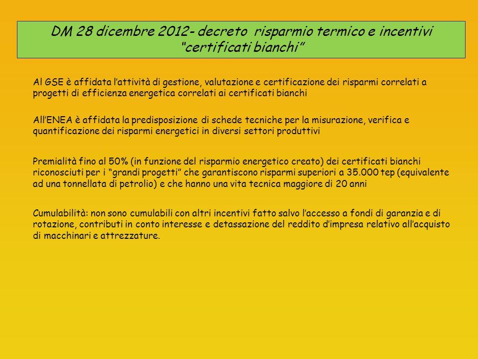 DM 28 dicembre 2012- decreto risparmio termico e incentivi certificati bianchi Premialità fino al 50% (in funzione del risparmio energetico creato) de