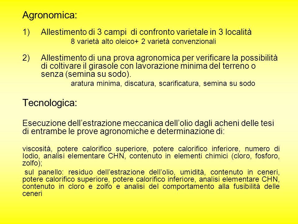 Agronomica: 1)Allestimento di 3 campi di confronto varietale in 3 località 8 varietà alto oleico+ 2 varietà convenzionali 2)Allestimento di una prova