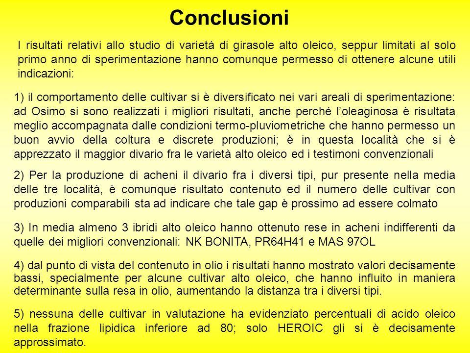 Conclusioni I risultati relativi allo studio di varietà di girasole alto oleico, seppur limitati al solo primo anno di sperimentazione hanno comunque