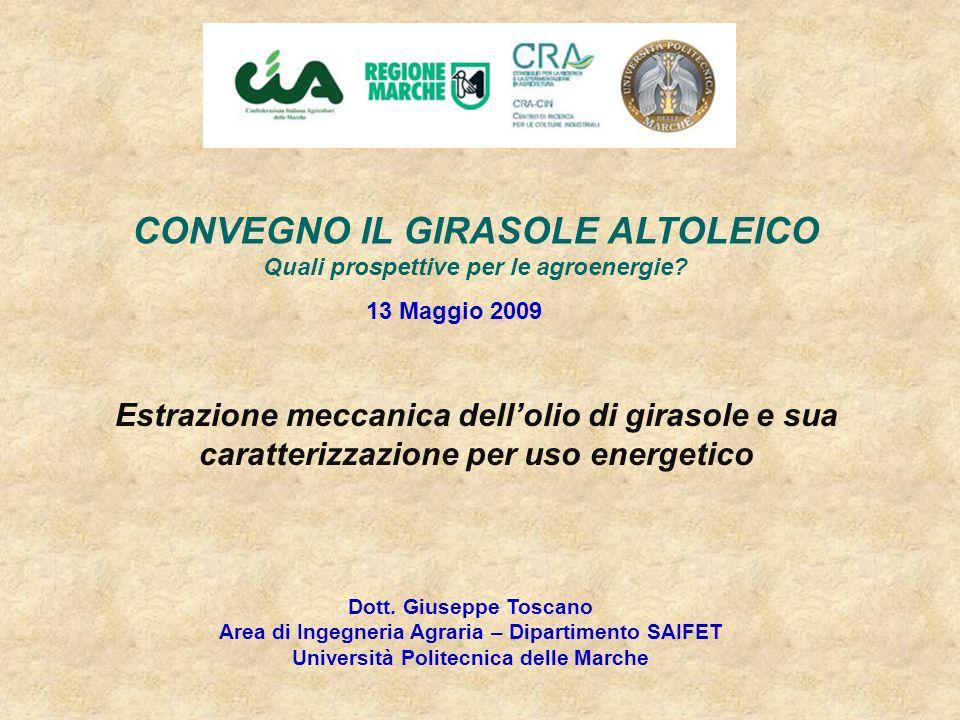 CONVEGNO IL GIRASOLE ALTOLEICO Quali prospettive per le agroenergie? Dott. Giuseppe Toscano Area di Ingegneria Agraria – Dipartimento SAIFET Universit