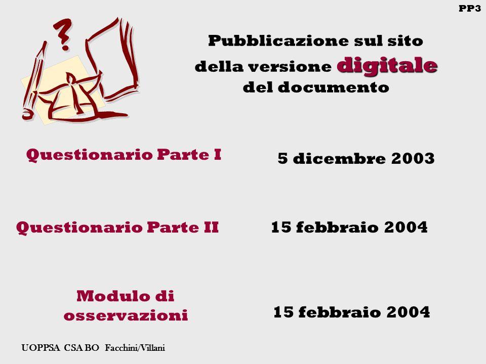 PP3 UOPPSA CSA BO Facchini/Villani digitale Pubblicazione sul sito della versione digitale del documento Questionario Parte I Questionario Parte II 5 dicembre 2003 15 febbraio 2004 Modulo di osservazioni 15 febbraio 2004