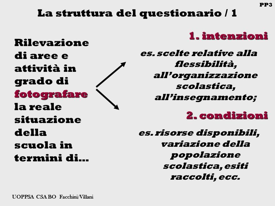 PP3 UOPPSA CSA BO Facchini/Villani La struttura del questionario / 1 1.intenzioni es.