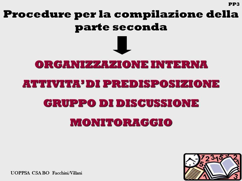 PP3 UOPPSA CSA BO Facchini/Villani Procedure per la compilazione della parte seconda ORGANIZZAZIONE INTERNA ATTIVITA DI PREDISPOSIZIONE GRUPPO DI DISCUSSIONE MONITORAGGIO