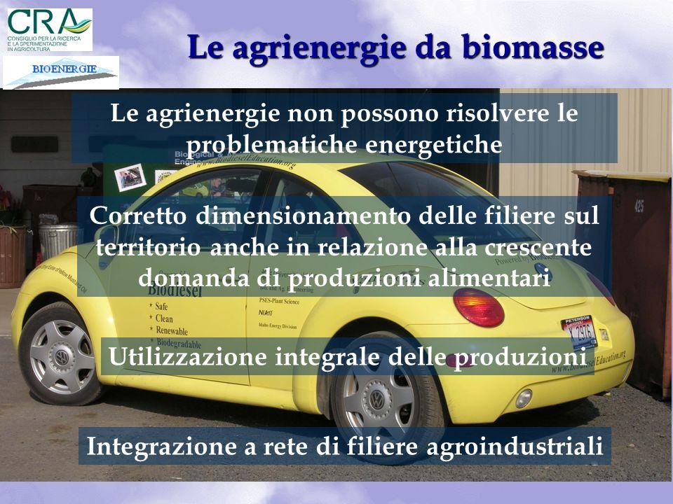 Le agrienergie da biomasse Le agrienergie non possono risolvere le problematiche energetiche Corretto dimensionamento delle filiere sul territorio anc