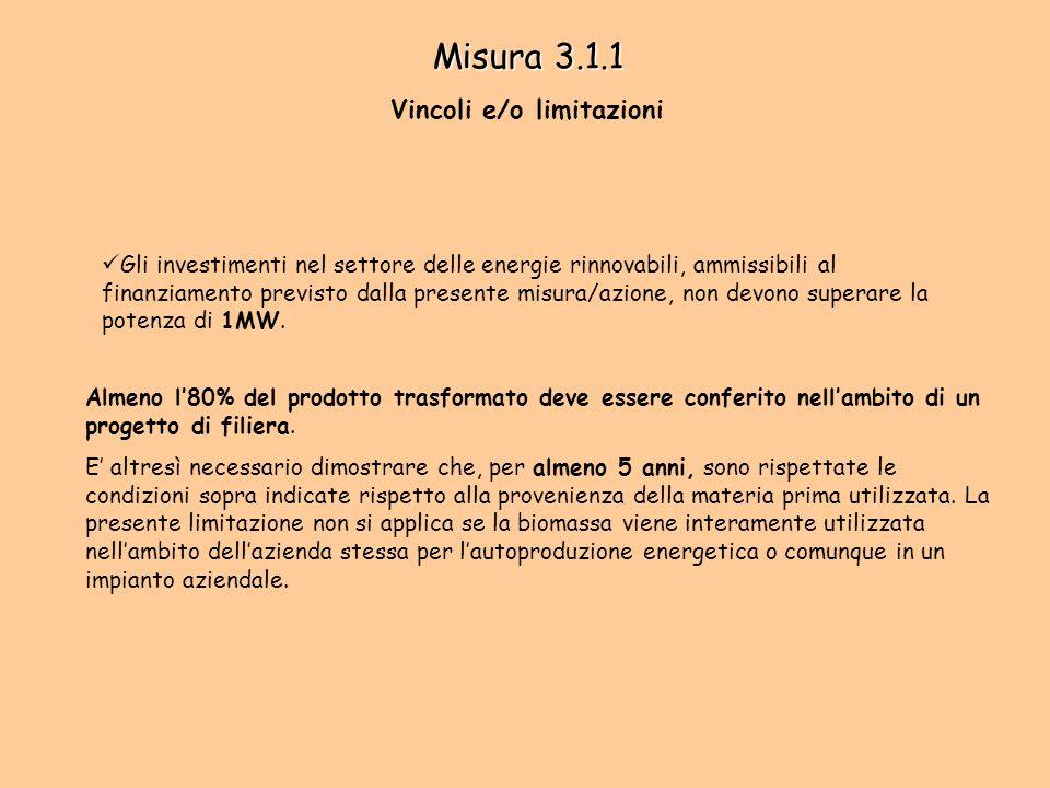 Misura 3.1.1 Vincoli e/o limitazioni Gli investimenti nel settore delle energie rinnovabili, ammissibili al finanziamento previsto dalla presente misura/azione, non devono superare la potenza di 1MW.