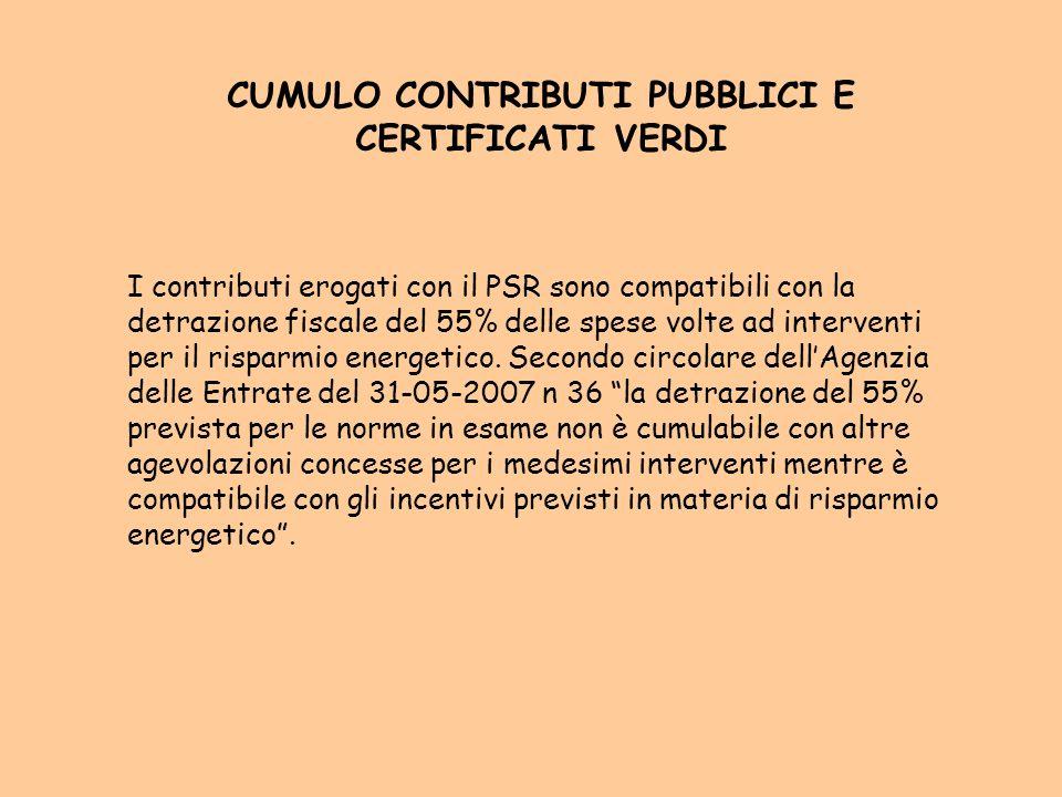 CUMULO CONTRIBUTI PUBBLICI E CERTIFICATI VERDI I contributi erogati con il PSR sono compatibili con la detrazione fiscale del 55% delle spese volte ad interventi per il risparmio energetico.