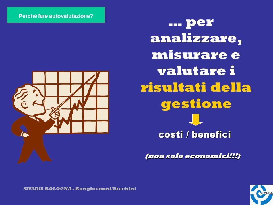 SIVADIS BOLOGNA - Bongiovanni/Facchini … per conoscere la propria organizzazione e valutarne nel tempo lidoneità e la funzionalità ai compiti istituzionali e costituzionali Perché fare autovalutazione?