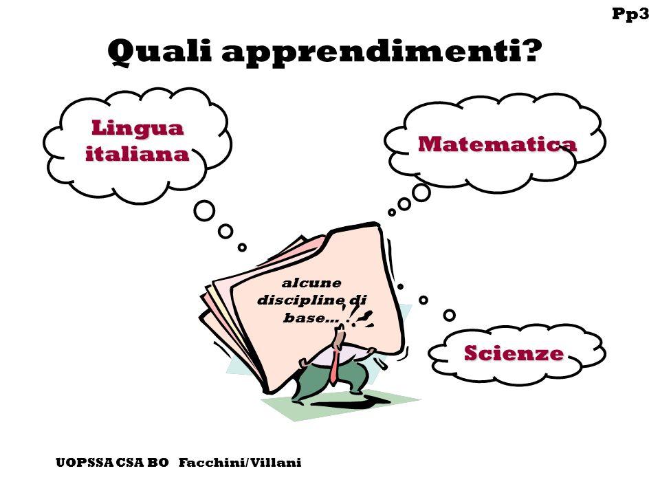 Pp3 UOPSSA CSA BO Facchini/ Villani Quali apprendimenti.
