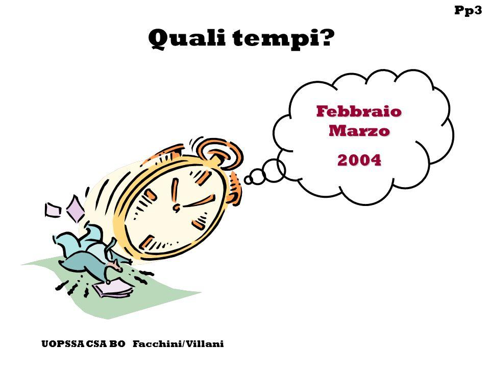 Pp3 UOPSSA CSA BO Facchini/ Villani Quali tempi Febbraio Marzo 2004