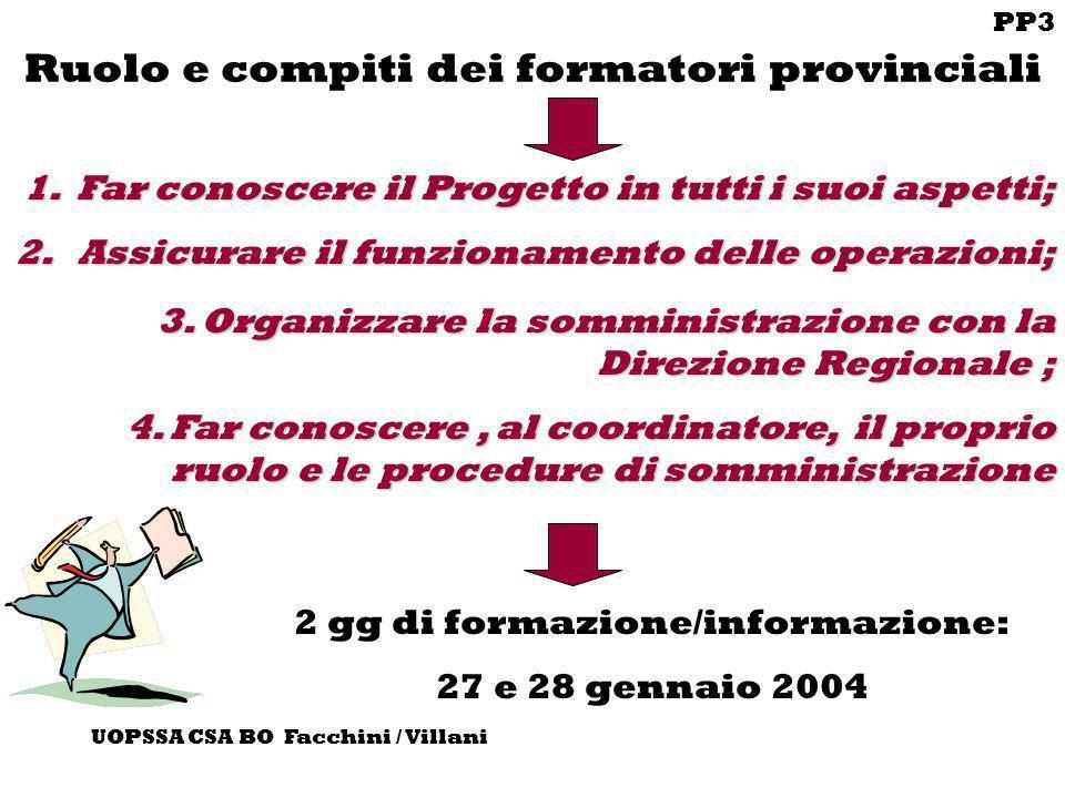 PP3 UOPSSA CSA BO Facchini / Villani Ruolo e compiti dei formatori provinciali 3. Organizzare la somministrazione con la Direzione Regionale ; 4. Far