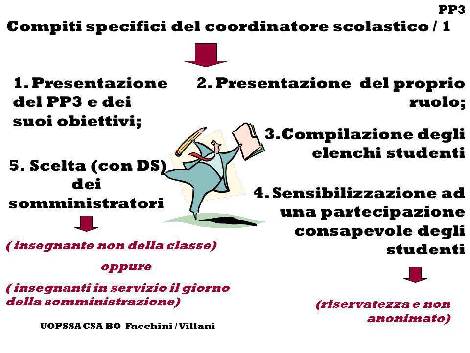 PP3 UOPSSA CSA BO Facchini / Villani Compiti specifici del coordinatore scolastico / 1 1. Presentazione del PP3 e dei suoi obiettivi; 4. Sensibilizzaz