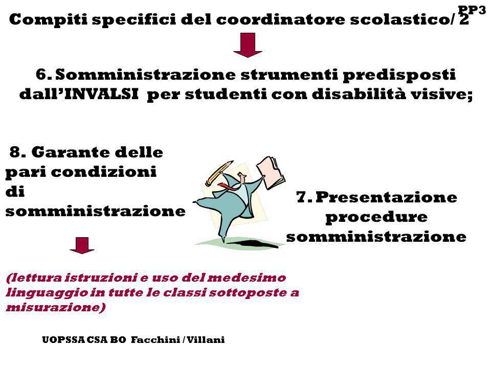 PP3 UOPSSA CSA BO Facchini / Villani Compiti specifici del coordinatore scolastico/ 2 6. Somministrazione strumenti predisposti dallINVALSI per studen