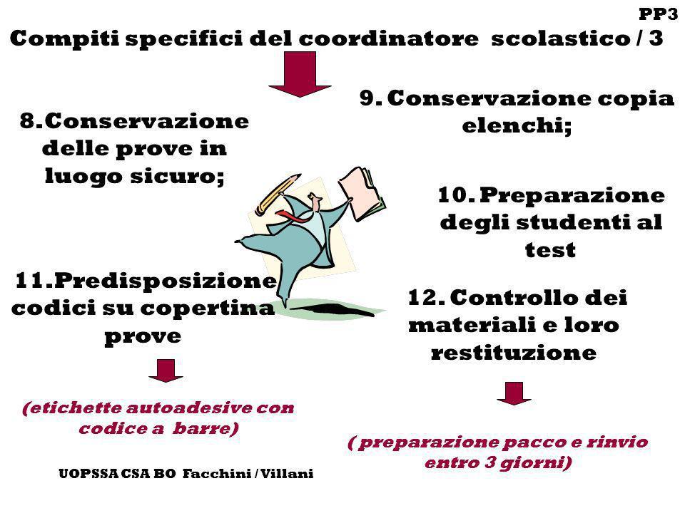 PP3 UOPSSA CSA BO Facchini / Villani Compiti specifici del coordinatore scolastico / 3 8.Conservazione delle prove in luogo sicuro; 12. Controllo dei
