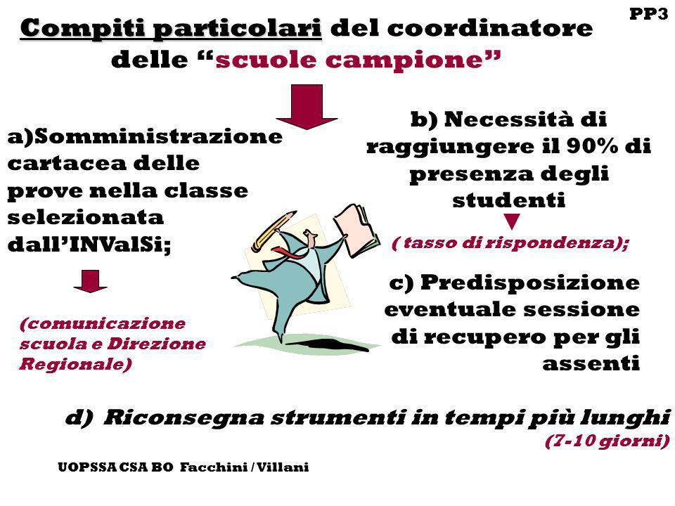 PP3 UOPSSA CSA BO Facchini / Villani Compiti particolari Compiti particolari del coordinatore delle scuole campione a)Somministrazione cartacea delle