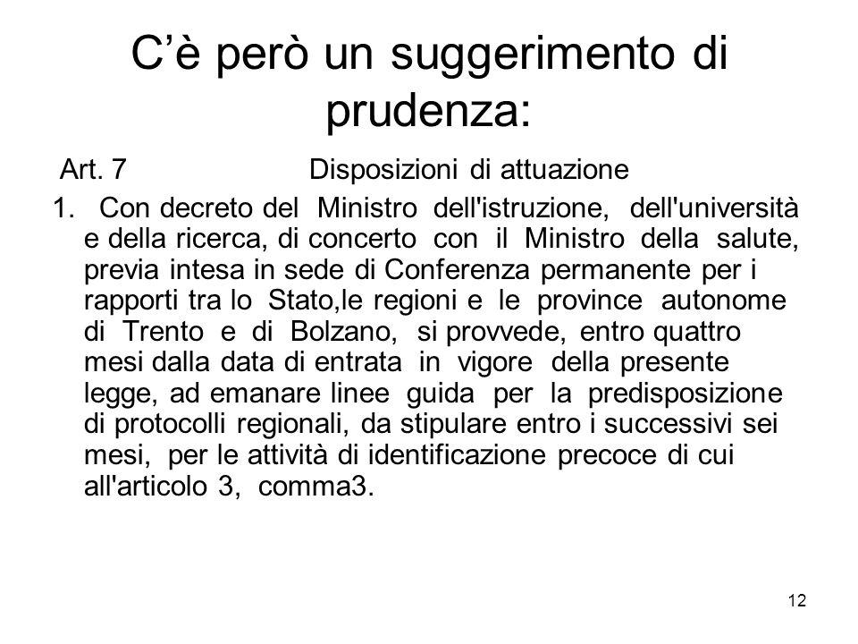 12 Cè però un suggerimento di prudenza: Art. 7 Disposizioni di attuazione 1. Con decreto del Ministro dell'istruzione, dell'università e della ricerca