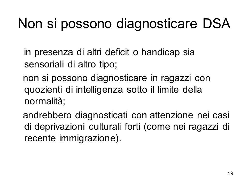 19 Non si possono diagnosticare DSA in presenza di altri deficit o handicap sia sensoriali di altro tipo; non si possono diagnosticare in ragazzi con