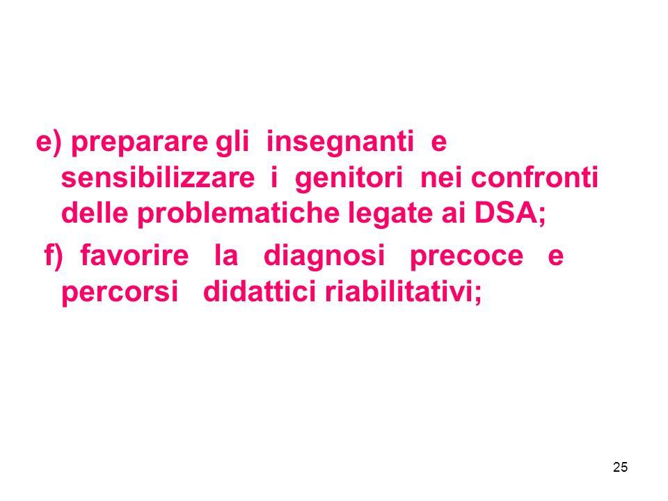 25 e) preparare gli insegnanti e sensibilizzare i genitori nei confronti delle problematiche legate ai DSA; f) favorire la diagnosi precoce e percorsi didattici riabilitativi;