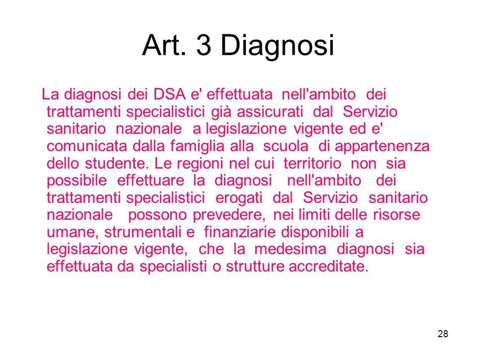 28 Art. 3 Diagnosi La diagnosi dei DSA e' effettuata nell'ambito dei trattamenti specialistici già assicurati dal Servizio sanitario nazionale a legis