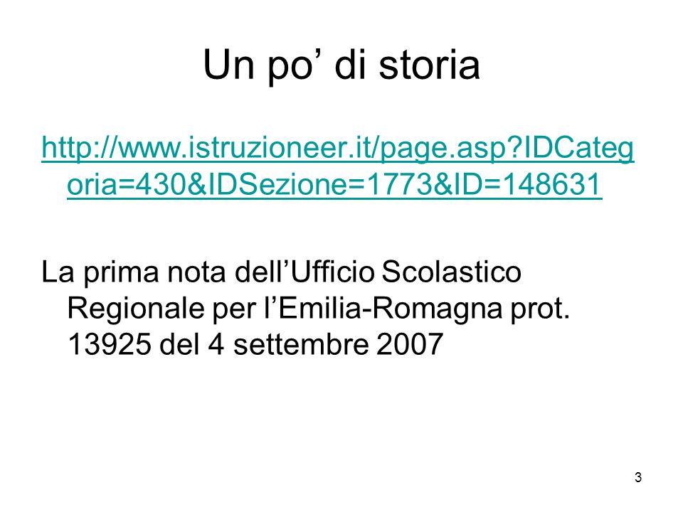 3 Un po di storia http://www.istruzioneer.it/page.asp?IDCateg oria=430&IDSezione=1773&ID=148631 La prima nota dellUfficio Scolastico Regionale per lEm