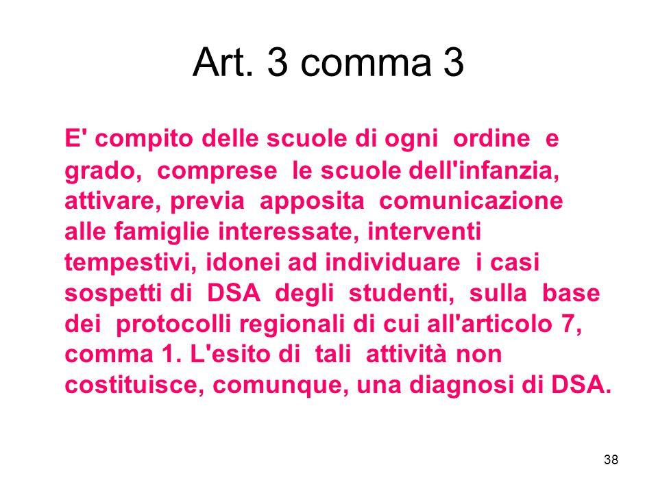 38 Art. 3 comma 3 E' compito delle scuole di ogni ordine e grado, comprese le scuole dell'infanzia, attivare, previa apposita comunicazione alle famig