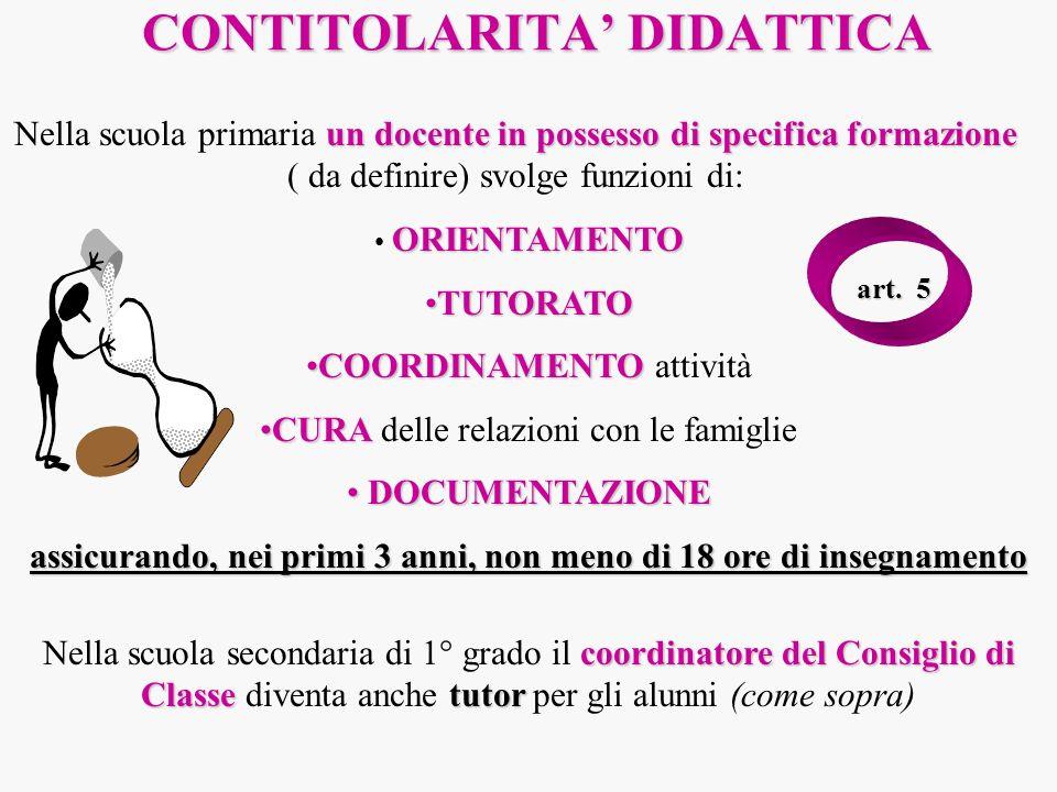 CONTITOLARITA DIDATTICA un docente in possesso di specifica formazione Nella scuola primaria un docente in possesso di specifica formazione ( da defin