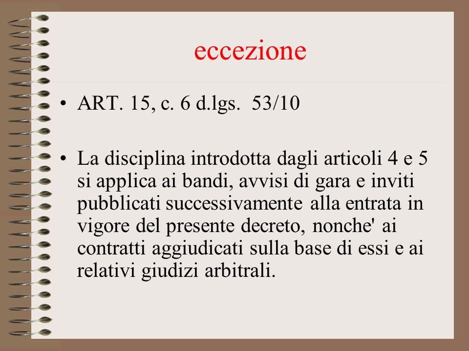 eccezione ART. 15, c. 6 d.lgs.