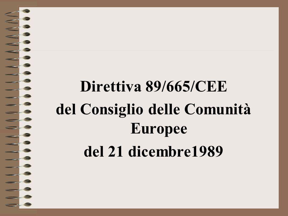 Direttiva 89/665/CEE del Consiglio delle Comunità Europee del 21 dicembre1989