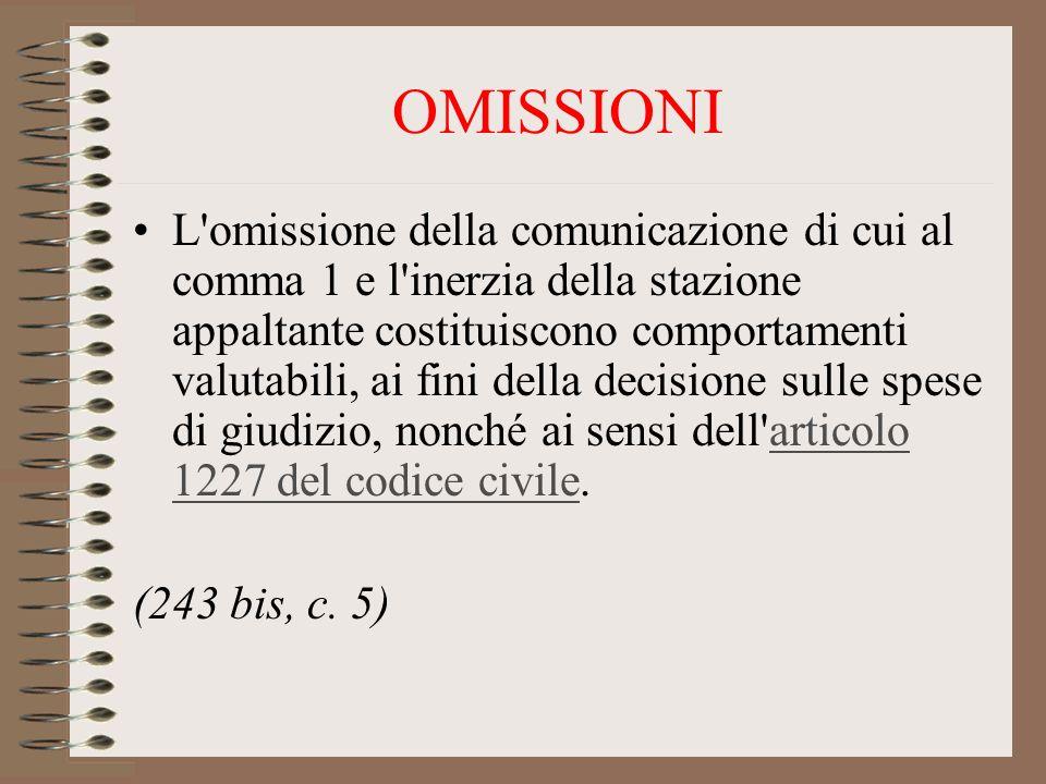 OMISSIONI L omissione della comunicazione di cui al comma 1 e l inerzia della stazione appaltante costituiscono comportamenti valutabili, ai fini della decisione sulle spese di giudizio, nonché ai sensi dell articolo 1227 del codice civile.articolo 1227 del codice civile (243 bis, c.