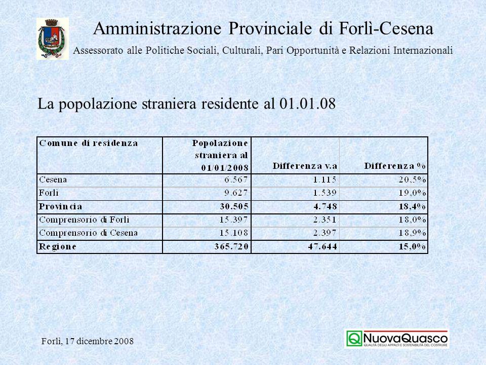 Amministrazione Provinciale di Forlì-Cesena Assessorato alle Politiche Sociali, Culturali, Pari Opportunità e Relazioni Internazionali Forlì, 17 dicembre 2008 La popolazione residente straniera