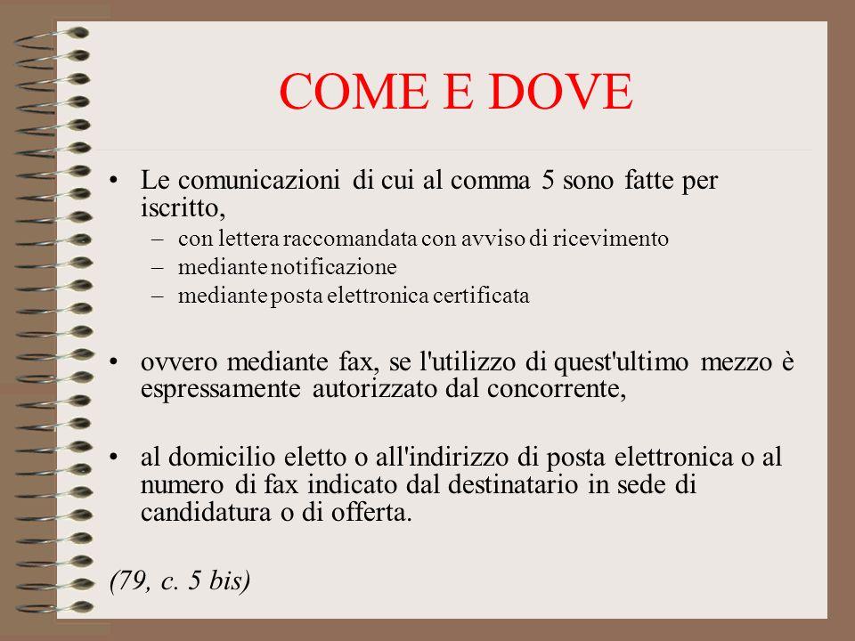 COME E DOVE Le comunicazioni di cui al comma 5 sono fatte per iscritto, –con lettera raccomandata con avviso di ricevimento –mediante notificazione –m