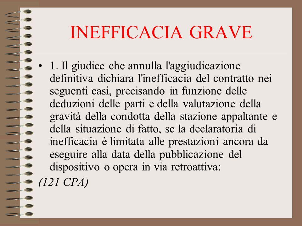 INEFFICACIA GRAVE 1. Il giudice che annulla l'aggiudicazione definitiva dichiara l'inefficacia del contratto nei seguenti casi, precisando in funzione