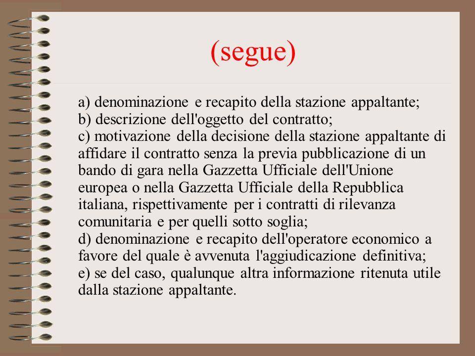 (segue) a) denominazione e recapito della stazione appaltante; b) descrizione dell'oggetto del contratto; c) motivazione della decisione della stazion